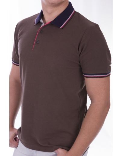 T-shirt COLLAR AFM-53578-KAHVE