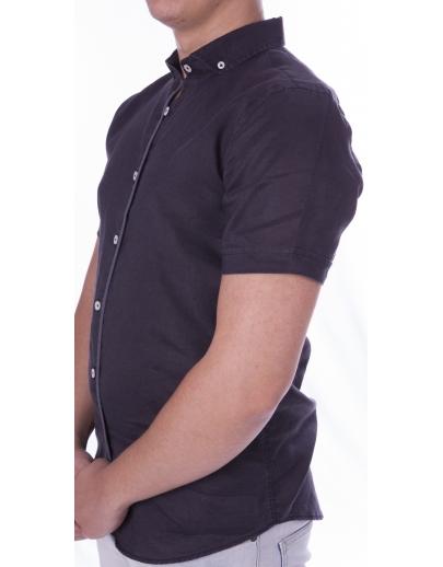 Camiseta de manga corta con corona-CRW-1007-03-SIYAH